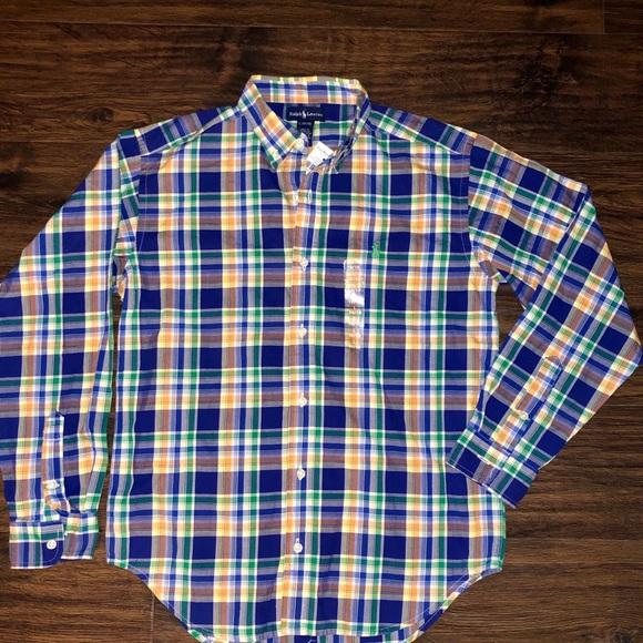 NWT Ralph Lauren Plaid Cotton Poplin Shirt